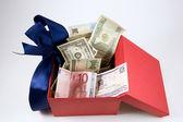 Saved money in box — Stock Photo