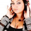 Girl with headphones. — Stock Photo