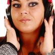 Closeup of girl with headphones. — Stock Photo