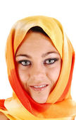 Beautiful face with scarf. — Stock Photo