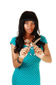 Girl with knife and fork. — Stock Photo