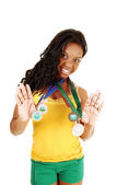 Girl with her medals. — Stock Photo