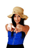 Teen girl pointing finger. — Stock Photo