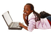 Teen girl with laptop. — Stock Photo