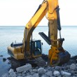 A backhoe on the lake. - Stock Photo