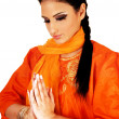 Indian girl praying. — Stock Photo