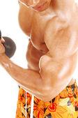 Detailní záběr na biceps. — Stock fotografie