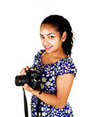 Girl with camera. — Stock Photo
