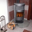 Modern wood stove. — Foto Stock