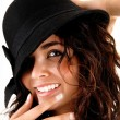 Closeup of girl with hat. — Stock Photo