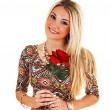 Girl with red rose. — Foto de Stock