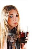Dziewczyna picia herbata. — Zdjęcie stockowe