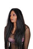 Dívka s dlouhými černými vlasy. — Stock fotografie