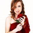 Girl with red rose. — Stock Photo