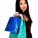 fille avec des sacs à provisions — Photo