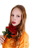 Pretty girl with rose. — Stock Photo