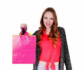 Smiling girl with shopping bag's. — Stock Photo