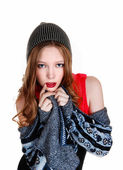 Girl in sweater and hat. — Stok fotoğraf
