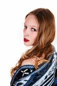 Detail dívky ve svetru. — Stock fotografie