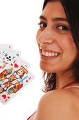 Woman playing cards. — Stock Photo