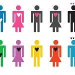 Set of stick figure people in love — Stock Vector #36818271