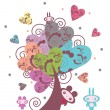 Cute little creature next to the tree of hearts — Stock Vector