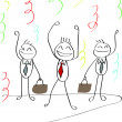 ストックベクタ: Happy businessmen celebrating achievement