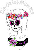 Girl with creative makeup, sugar skull painted, Day of the Dead concept, Dia de los Muertos — Stockvector