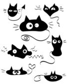 Set of funny and cute doodle cats — Stock Vector