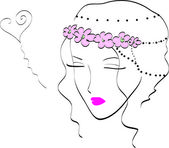 Beautiful dreamy girl in love — Stock Vector