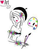 Vackra artist flicka i kärlek — Stockvektor