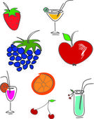 Fruit and drinks — Stock Vector