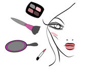 Beautiful woman with makeup tools — Wektor stockowy