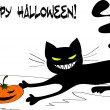 Happy Halloween card with evil kitty and pumpkin — Stock Vector #36820141