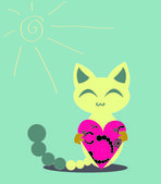 Cute happy kitten with heart — Stock Vector