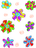 Set of colorful doodle flowers — Stock Vector