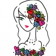 Stock Vector: Beautiful girl with flowers