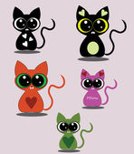 Set of cute kitten icons — Stock Vector