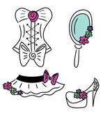 Set of cute outfit icons — ストックベクタ