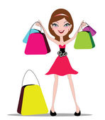 Happy shopping girl — Vector de stock