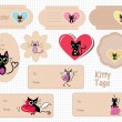 Set of cute Valentine's kitten tags and labels — Stock Vector