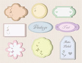 Cute vintage labels and tags for wedding, bridal or baby showers and Birthdays — Stock Vector