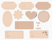Set of cute blank tags and labels — Stock Vector