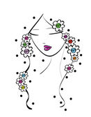 Beautiful line art girl with flowers — Vector de stock