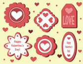 Set of Valentine's Day tags — Stock Vector