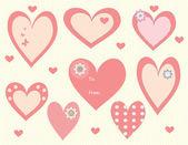 Sevgililer günü kalp etiketler ve etiketleri — Stok Vektör