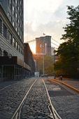 Cobblestone Brooklyn Bridge — Stock Photo