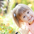 Portrait of a beautiful little girl in the autumn forest — ストック写真