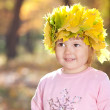 Beautiful little girl in a wreath of maple leaves in autumn fore — 图库照片