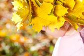 漂亮的小女孩在一个花圈枫叶叶子在秋季前 — 图库照片